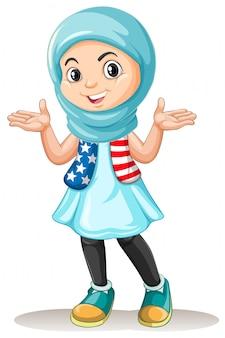幸せそうな顔を持つイスラム教徒の少女