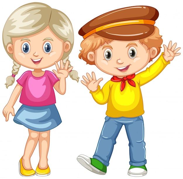 男の子と女の子が手を振って