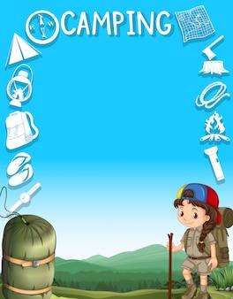 キャンプの女の子とフレーム