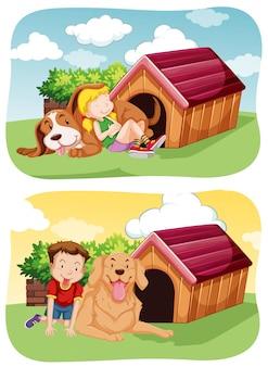 ペットの犬と一緒に庭で遊ぶ子供たち