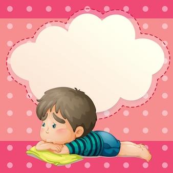 空の吹き出しを持つ悲しい若者