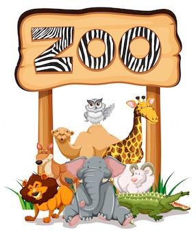 動物園の看板の下の野生動物