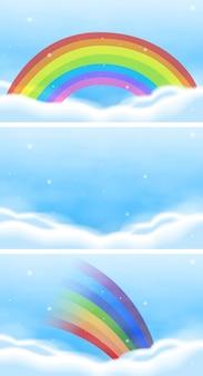 美しい虹と空のシーンセット