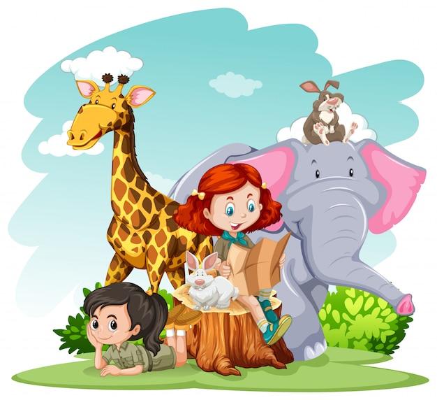 女の子と野生動物