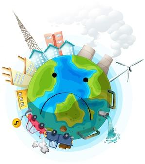 Грустный загрязненный земной плакат