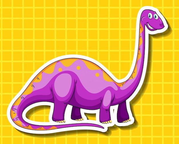 黄色の背景に紫の恐竜