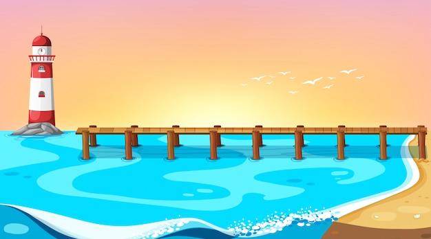Пляжная сцена с причалом