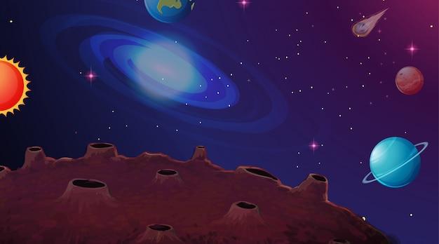 太陽系の惑星シーンの背景