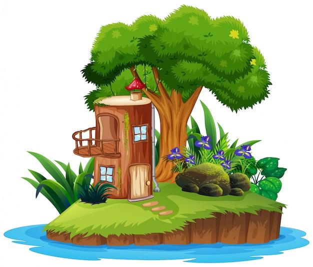 木の家と島