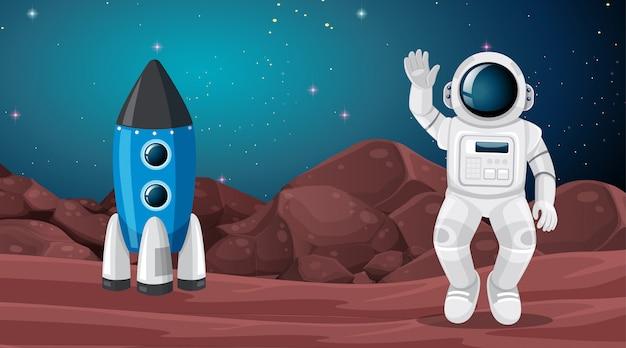 宇宙飛行士と火星の風景シーン