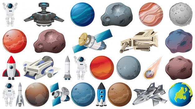 惑星と空間の要素のセット