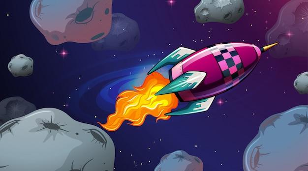 ロケットと小惑星のシーン