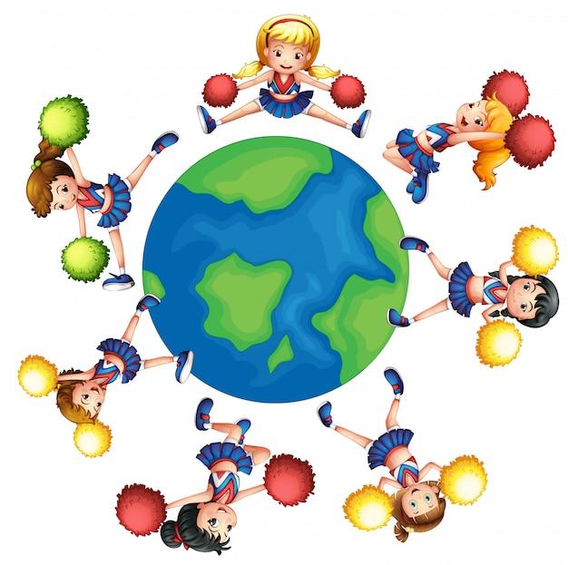 世界中で踊るチアリーダー