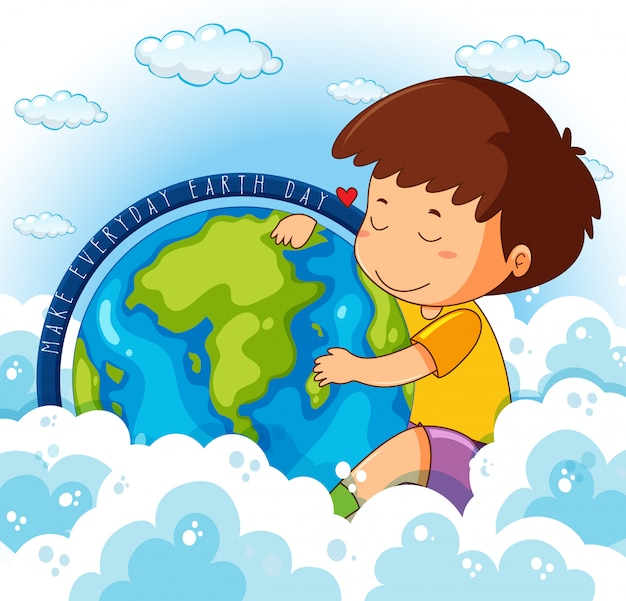地球を抱き締めるかわいい男の子