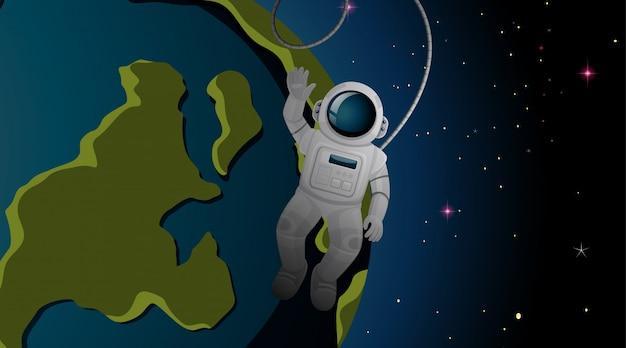 宇宙飛行士と地球の背景