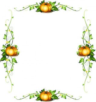 カボチャの植物のあるフレームテンプレート