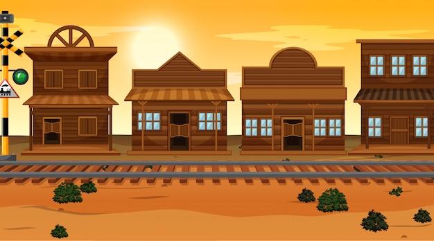 砂漠の町の背景シーン