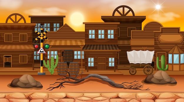 砂漠のストリートタウンシーンの背景