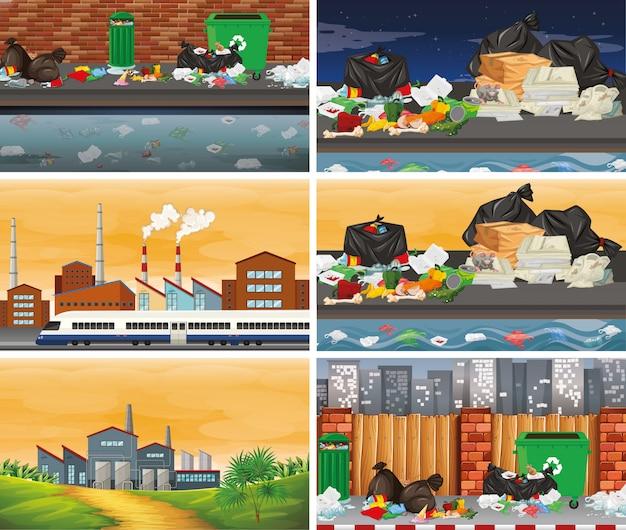 Набор загрязненных сцен или фона
