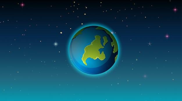 宇宙シーンの地球