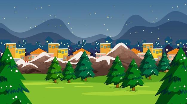 雪の町公園のシーンや背景
