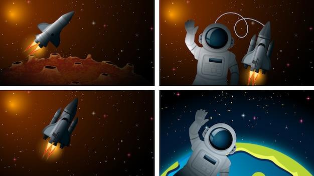 ロケットと宇宙飛行士のシーンまたは背景