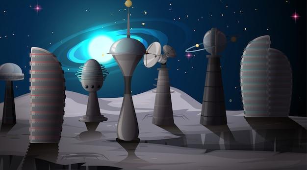宇宙シーンの中の都市