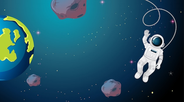 Астронавт, плавающий в космосе