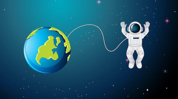 宇宙飛行士が宇宙のシーンで飛んで