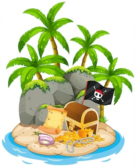 Сокровища на пляже острова сцены