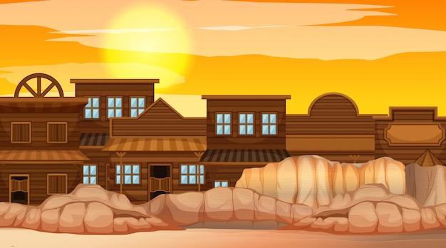 砂漠のシーンの中の町
