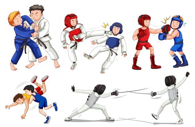男の子、女の子、子供、分離された運動選手によるスポーツ活動