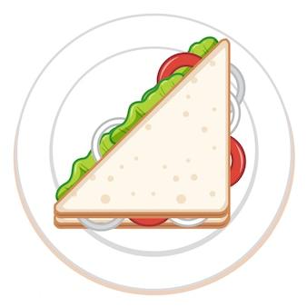 白で隔離されるサンドイッチ