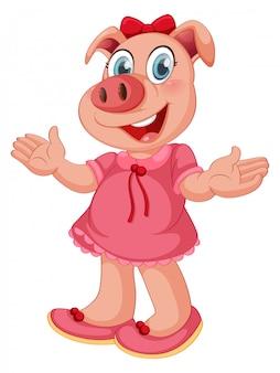 分離された人間のようなポーズでかわいい豚