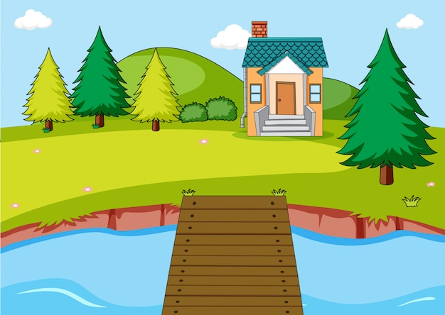 家と川の屋外シーン