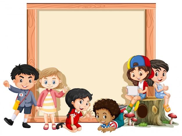 幸せな子供たちとバナー
