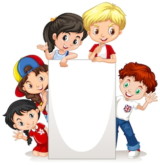 紙の上の幸せな子供たちとフレーム