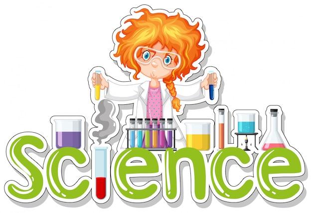 実験をしている女の子と科学のための言葉