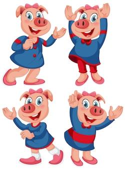 幸せな表情で孤立した豚キャラクター