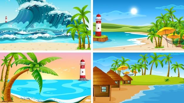 ビーチと熱帯の海の自然シーンのセット