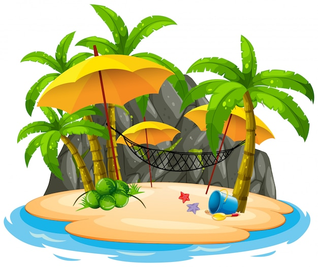 島のビーチでハンモック