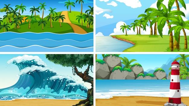 Набор тропических океанов природы сцены или фоны с пляжами