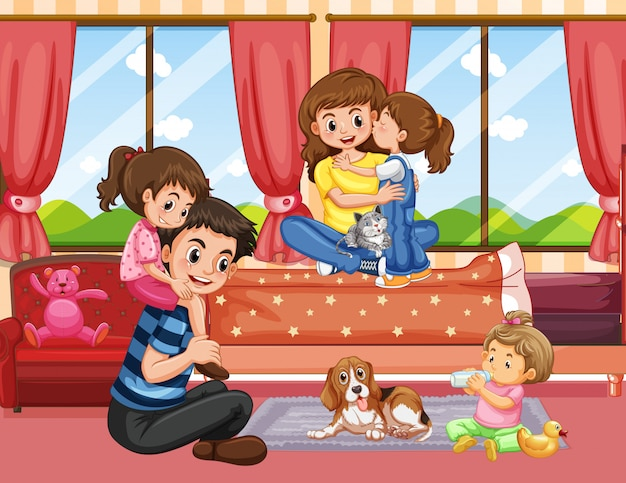 Семья в гостиной сцены или фона