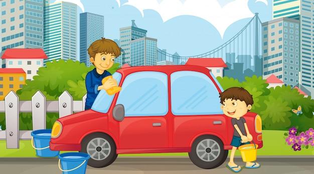 お父さんと息子の車の掃除