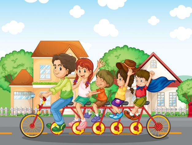 一緒に自転車に乗る家族