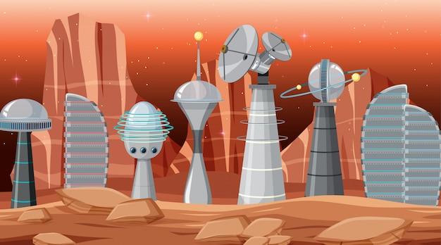 宇宙シーンの都市