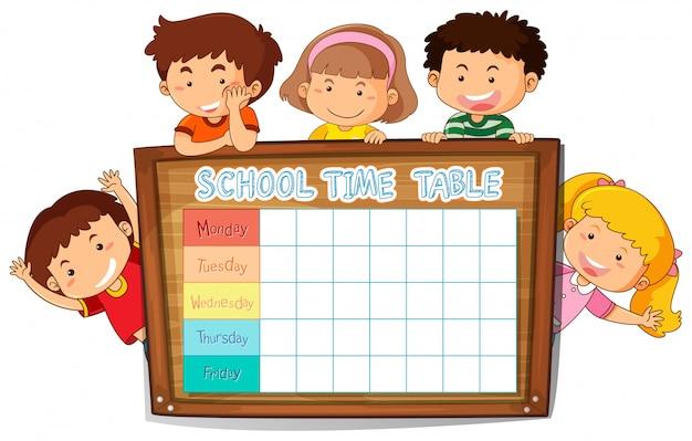 Расписание школьного планирования с персонажами
