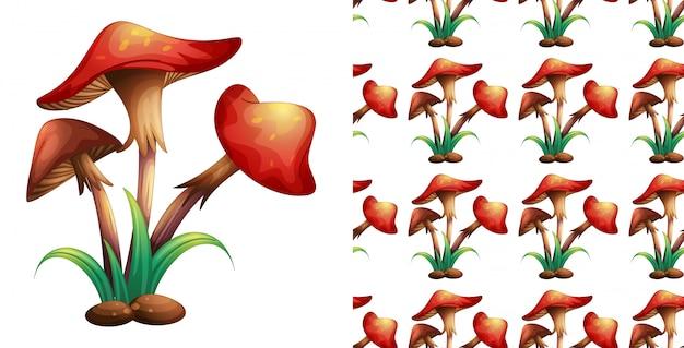 赤いキノコとのシームレスなパターン