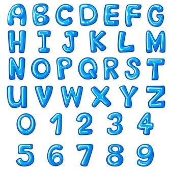 英語のアルファベットと数字のフォントデザイン