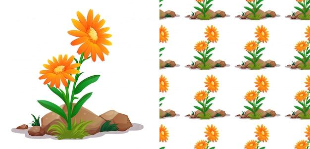 オレンジ色のガーベラの花のシームレスパターン